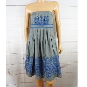 Anthropologie Floreat Strapless Embroidery  Dress